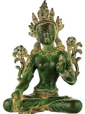 Dual-tone White Tara, Her Hands In Varada Mudra