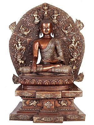 Buddha In Bhumisparsha Mudra, Seated On The Mystical Throne Of Enlightenment