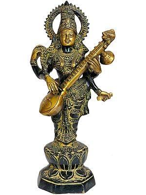 Saraswati Stands And Strums On Her Veena