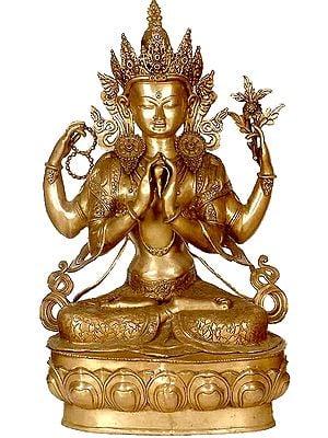 Large Size Four-Armed Avalokiteshvara (Tibetan Buddhist Deity)