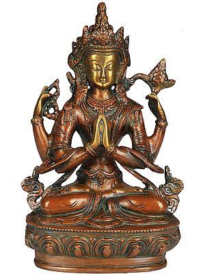 Tibetan Buddhist Deity Chenrezig (Shadakshari Avalokiteshvara)