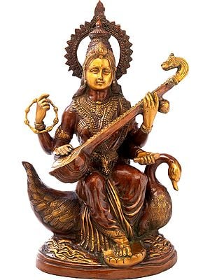 Seated Devi Sarasvati Upon A Riverine Pedestal