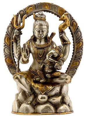 Seated Shiva Atop Mount Kailash, Baby Ganesha In His Arms