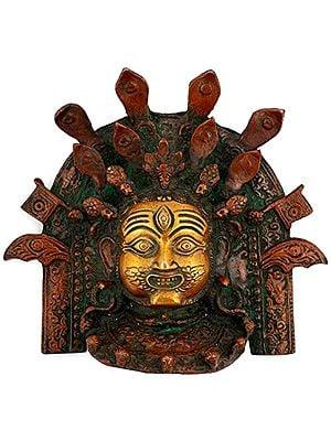 Mahakala Bhairava Mask Wall-hanging, His Ferocious Countenance Warding Off Evil