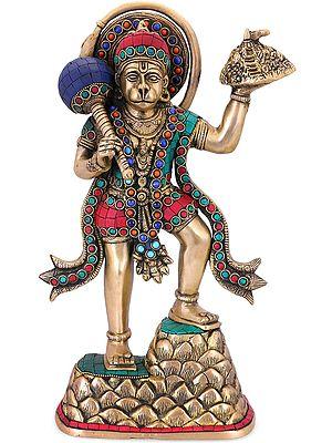 The Powerful Hanuman (Richly Inlaid Brass)