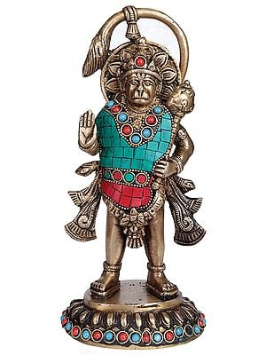Standing Hanuman Meting Out Blessings (Richly Inlaid)
