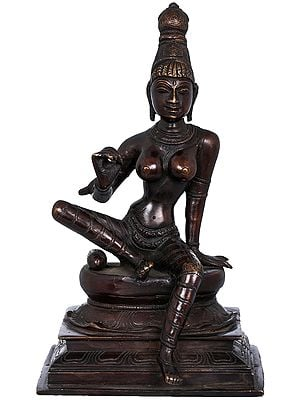 """8"""" Seated Uma   Uma is used for Sati (Shiva's first wife, who is reborn as Parvati)   Brass Statue   Handmade   Made In India"""