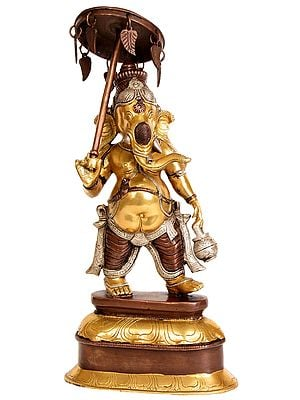 Ganesha, Holding Parasol In One Hand, Kamandalu In The Other