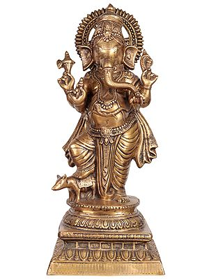 Standing Ganesha, With A Foot Atop The Mouse