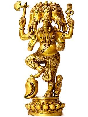 Five-headed Ganesha, Flanked By The Mouse And The Conch