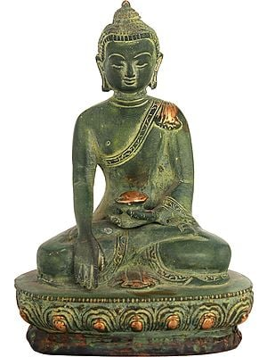 Buddha Seated On A Lotus, His Hand In Bhumisparsha Mudra