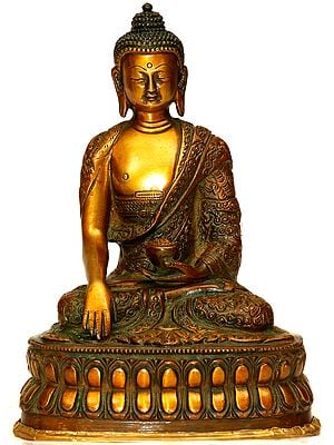 Buddha, His Hand In Bhumisparsha Mudra, Auspicious Motifs Carved Into His Robe