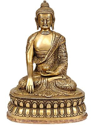 Lord Buddha in Earth-Witness Gesture (Robes Decorated with Auspicious Symbols and Stylized Designs)