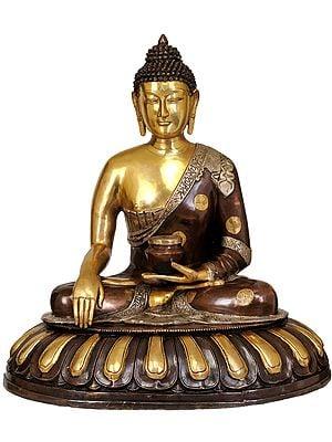 Buddha, His Hand In Bhumisparsha Mudra, The Lotus Throne Spreading Out Beneath Him