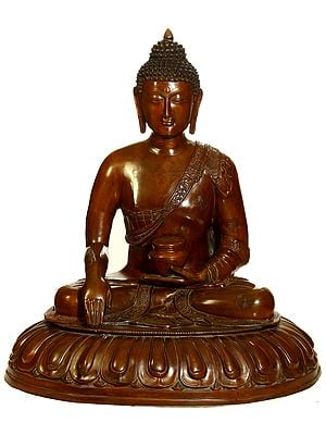 Buddha, His Hand In Bhumisparsha Mudra, The Lotus Throne Spreading Out Beneath Him