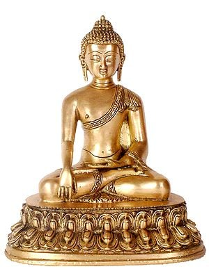 Buddha, His Hand In Bhumisprasha Mudra, The Bliss Of Enlightenment On His Face