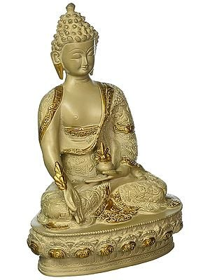 Medicine Buddha Statue with Intricate Hand Carving Brass Sculptures
