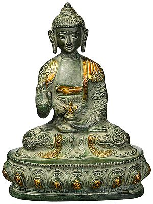 Antique Medicine Buddha Brass Statue Sculpture