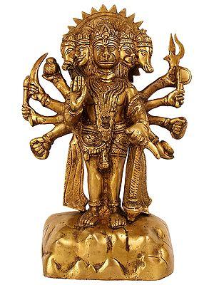 Panchmukhi Hanuman Monkey brass Statue