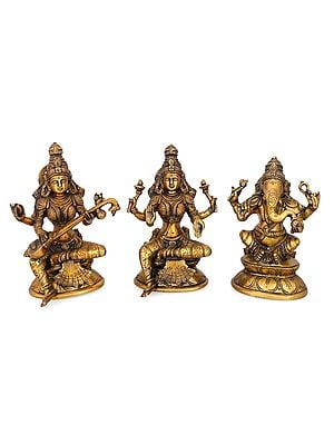Set of Ganesh Lakshmi Saraswati Brass Sculpture