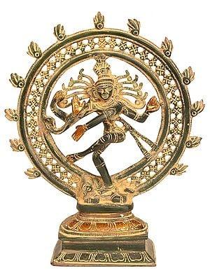 Antique Nataraja Brass Statue Hindu Lord Dancing Shiva Sculpture