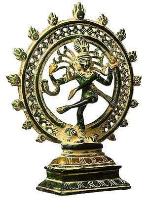 Antique Nataraj Brass Statue Hindu Lord Dancing Shiva Sculpture