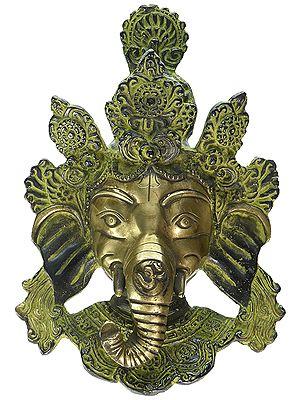 Antique Ganesh Wall Hanging Mask Brass