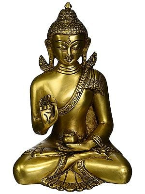 Blessing Buddha Brass Sculpture of Lord Buddha