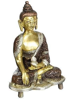 Lord Buddha in the Bhumisparsha Mudra Brass Statue