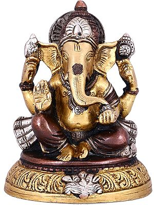 Ganesha Seated On An Upturned Lotus