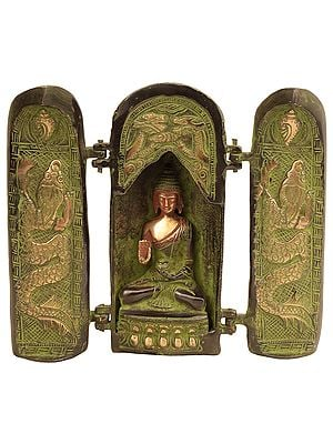 The Enlightened Buddha Seated Within His Shrine (With Movable Doors)