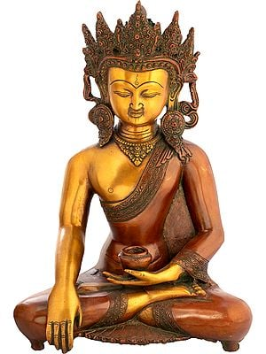 Buddha In Bhumisparsha Mudra, His Exquisite Crown And Karnaphool Standing Out