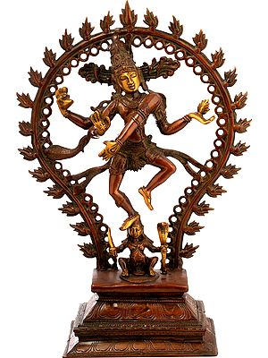Nataraja Full Of Life, His Figure Framed By A Ringed Aureole