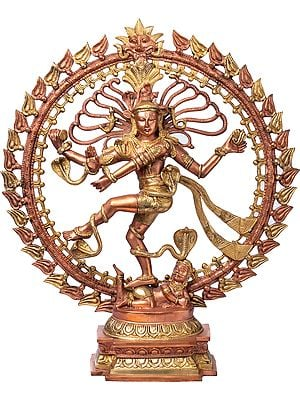 The Graceful Nataraja, His Form Clad In Ample Gold And Snakes