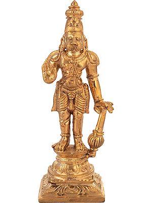 Hanuman, His Crown Towering Above Him, His Hand In Abhaya Mudra