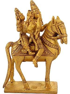 Shiva-Parvati Astride A Horse
