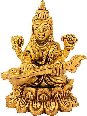 Saraswati Seated On A Lotus, Playing Her Veena