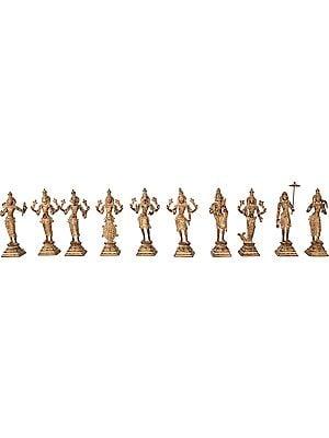 Dashavatara: Ten Incarnations of Lord Vishnu ( Matshya, Kurma, Varaha, Narasimha, Vaman, Parashurama, Rama, Balarama, Krishna and Kalki)