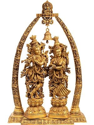Large Size Radha Krishna with Arch Showing Krishna Leela