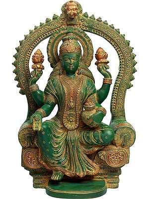 Goddess Lakshmi Seated on Throne with the Pot of Wealth
