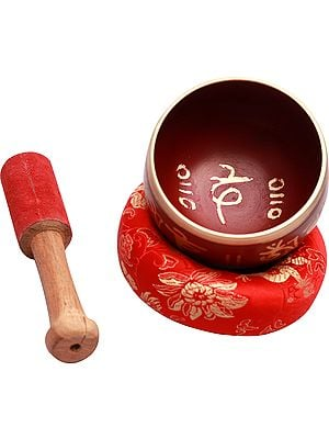Om Mani Padme Hum Tibetan Buddhist Singing Bowl with Cushion Seat and Stick