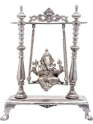 Lord Ganesha on a Swing (In Silver Colour)