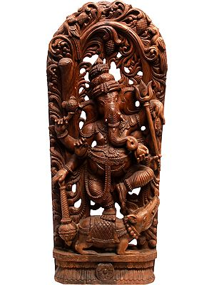 Six Armed Dancing Ganesha Holding a Trident and Mace