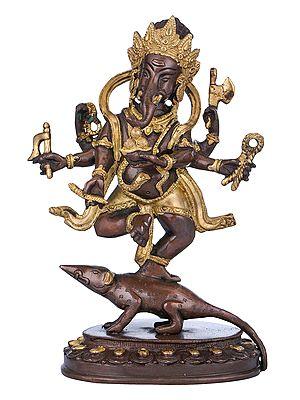 Six Armed Ganesha Dancing on His Vehicle