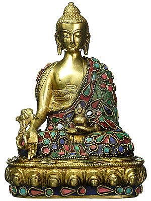 Medicine Buddha, The Inlay On His Robes Matching That On The Lotus