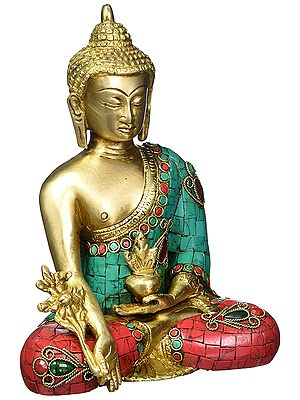 Medicine Buddha, His Hair Coiled Atop His Stately Head