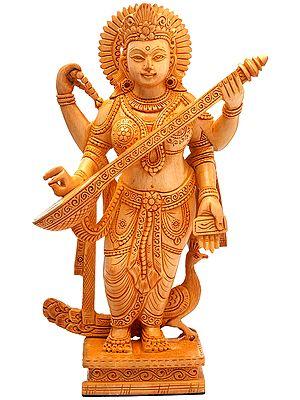 Standing Saraswati, Carved By Hand