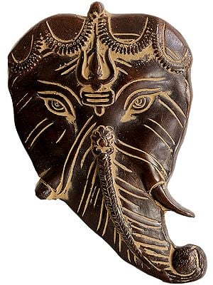 Ganesha Countenance Carved From Pipal Leaf Wall-hanging