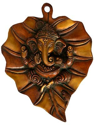 Pipal Leaf With Central Ganesha Motif Wall-hanging