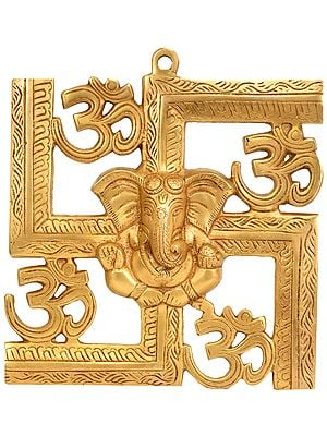 Om Wall Hanging, With Central Ganesh Motif